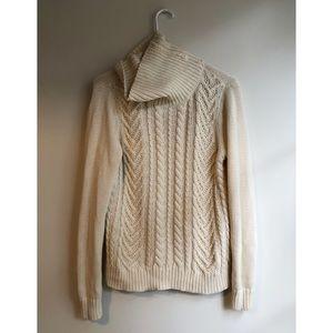 Cotton chunky cream landend sweater turtleneck